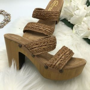 Sbicca Vintage Collection Block Heel Sandals Italy